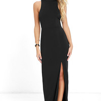 Engraved Initials Black Maxi Dress