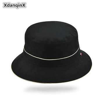 XdanqinX Western Style Solid Cotton Bucket Hats For Men Women Foldable Fashion Big Eaves Fishing Cap Unisex Vacation Beach Hats