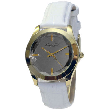 Kenneth Cole KCW2001 Women's New York Grey Dial Gold Tone Steel White Leather Strap Watch