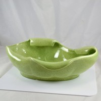 Red Wing Bowl Planter - Free Form Mid Century Design - Green Speckled Pottery Glaze