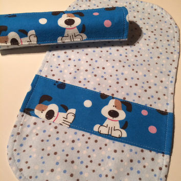 Set of Burp Cloths - Flannel Cloths - Puppy Dog Print