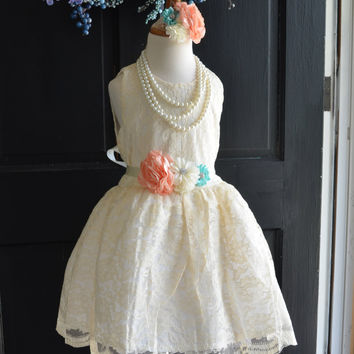 Coral Mint Ivory Lace Flower Girl Dress
