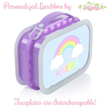 Rainbow Lunchbox - Personalized Lunchbox with Interchangeable Faceplates - Double-Sided Pastel Rainbow Lunchbox