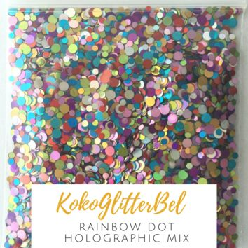 Holographic Glitter Mix Dots - Rainbow