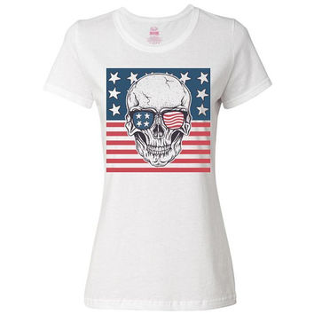 US Skull Ladies Classic Tee, T-Shirt, Custom Shirts, Personalized Shirts, Clothing, Women's Shirts, American Shirt, US Flag, America