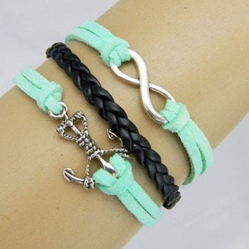 Anchor Bracelets,life bracelet, light green ,imperial crown,Turquoise,leather bracelet,hipsters jewelry,braided bracelet