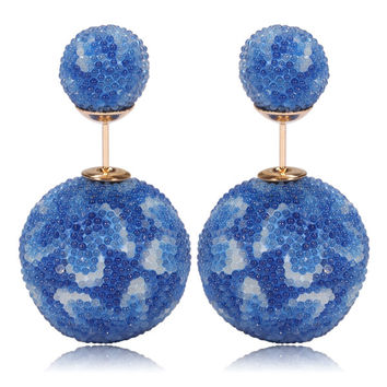 Italian Import Gum Tee Mise en Style Tribal Double Bead Earrings - Micro Bead Blue Flower Design