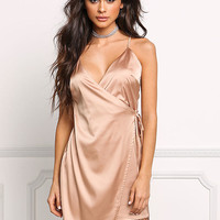 Blush Satin Faux Wrap Dress