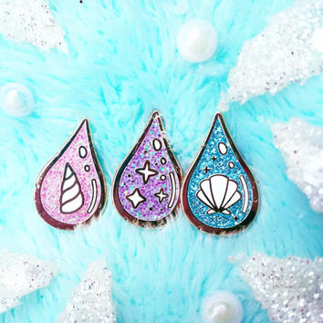 Unicorn's Blood, Fairy's Sweat & Mermaid's Tears Hard Enamel Glitter Lapel Pin Set - Cute Fantasy Accesories - Only 10 Left!