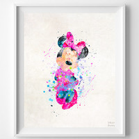 Minnie Mouse Print, Minnie Watercolor Art, Type 2, Disney Poster, Home Decor, Bathroom Art, Kids Wall Art, Art Prints, Halloween Decor