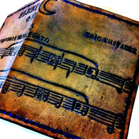 Pick Your Song,Sheet Music,Custom Music,Leather Wallet,Song Wallet,Anniversary,Anniversary Present,Music Gift,holds 8 cards,1 bill slots
