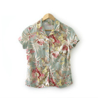 Vintage Shirt ~ Size Extra Small, XS ~ Hawaiian Floral Blue Green Beige Pink White Button Up ~ By Islander