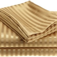 Divatex Home Fashions  Royal Opulence Woven Satin Stripe Queen Sheet Set, Brass