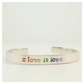 Love is Love, Handstamped Bracelet, Hand Stamped Jewelry, Equal Rights, Marriage Equality, Gay Pride Bracelet, Rainbow, LGBT Jewelry, Equal