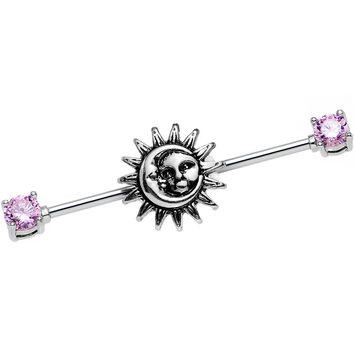 14 Gauge Pink CZ Steel Celestial Sun and Moon Industrial Barbell 38mm