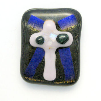 Fused Dichroic Glass Magnet - Cross Magnet