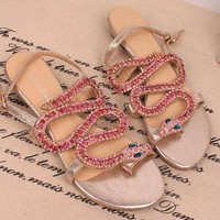 Twisted Full Rhinestone Snake Flat Sandals A01