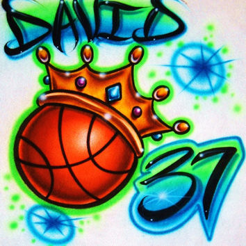 Airbrush T Shirt Basketball Crown And Name Number, Airbrush Basketball, Basketball Shirt, Basketball, Airbrushed Basketball, Airbrush Shirt