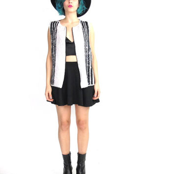 Vintage Sequin Vest Black White Sequins 90s Party Tank Top Zip Front Vest Beaded Sequin Striped Shirt Sparkly Tuxedo India Blouse (L)