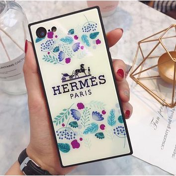Hermes Trending Women Stylish Blue Floral Pattern Blue-Ray Glass iPhone Phone Cover Case For iphone 6 6s 6plus 6s-plus 7 7plus iPhone 8 8 Plus iPhone X I13560-1