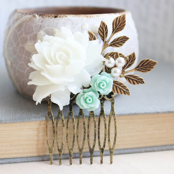White Rose Comb Mint Rose Floral Collage Pastel Aqua Bridal Hair Accessories Gold Leaf Leaves Beach Wedding Nature Inspired Hair Piece