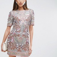 ASOS RED CARPET Premium Showtank Embellished Shift Mini Dress at asos.com