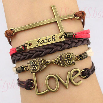 Faith braceletlove braceletcross braceletowl by IStyleIShow