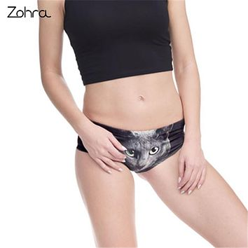 Zohra Women Underwear Green Eyes Black Cats 3D Printing Sexy Panties Panty Interior Mujer Bragas Culotte Femme Briefs Lingerie