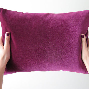 Velvet decorative pillow in purple wine - 40x30cm (16x12inches) with the insert