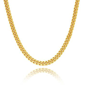Long Choker Gold color 7MM Cuban Link Chain For Men