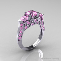 Modern 14K White Gold Three Stone Light Pink Sapphire Solitaire Engagement Ring, Wedding Ring R250-14KWGLPS