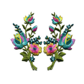 A Pair Of Beautiful Colorful Flower Bouquet Iron On Patches Sew On Appliques