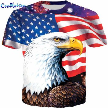 ConMotion Cool American Flag Eagle Print 3D T shirt