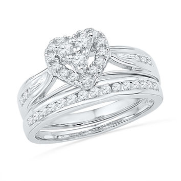 10k White Gold Round Natural Diamond Womens Heart-shape Bridal Wedding Engagement Ring Band Set 1/2 Cttw