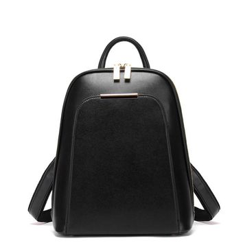 2017 Casual Preppy Style Women Backpacks Simple Solid Lady Travel bag Black Wine red Beige and Golden colors 25*32*13cm size