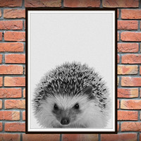 Hedgehog Print, Woodlands Nursery Decor, Texture, Wall Art, Modern Hedgehog Minimal Black and White Animal, Printable Instant Download *83*