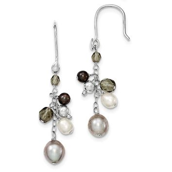 Sterling Silver Fresh Water Cultured Blue & White Pearl/Glass Cluster Dangle Earrings