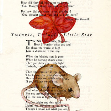 Book Page Art Field Mouse with Red Oak Leaf Poem Page Art Antique Book Upcycled Page Art  Wall Decor Field Mouse Print cp341
