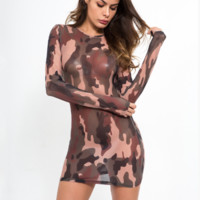 Fashion New Camouflage Perspective Long Sleeve Dress Women