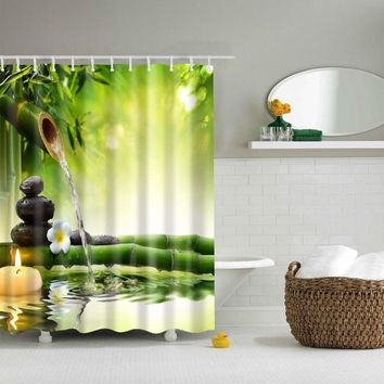 LFH Fabric Shower Curtain Spa Decor Green Yellow Mildew Resistant Bathroom Zen Garden Theme Decor View for Bathroom Bamboos