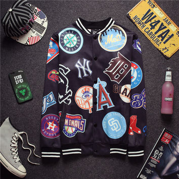 Vintage Hip-hop Pattern Print Men's Fashion Jacket [6541170819]