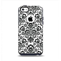 The Black Floral Delicate Pattern Apple iPhone 5c Otterbox Commuter Case Skin Set