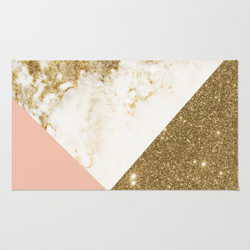 Gold marble collage Area & Throw Rug by cafelab