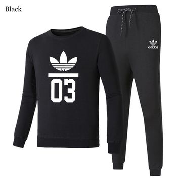 ADIDAS Clover autumn and winter trend men and women casual sportswear two-piece black