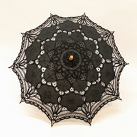 Cotton and Lace Parasol - Black :: Umbrellas & Parasols :: Accessories :: Five & Diamond