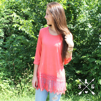 Lyla's Coral Solid Raglan Shirt with Tassle Lace