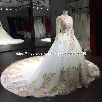Luxury Princess Long train Wedding dress plus size Ball Gown Wedding Dresses 2017 vestidos de noiva robe de mariage
