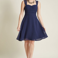Sleeveless Chiffon Cocktail Dress in Navy