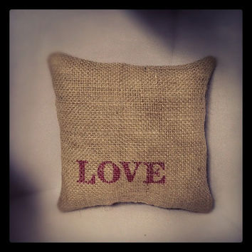 Burlap Love Pillow Valentines Decor by oldesaltbox on Etsy