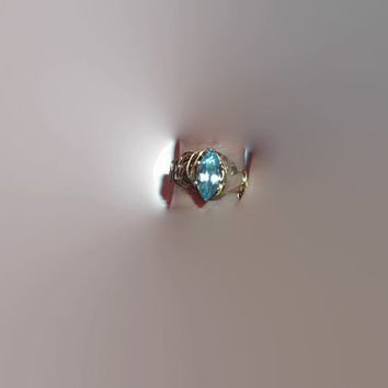 BOGO Sale Swiss Blue Topaz Marquise Silver and Gold Wire Wrapped Ring Size 4 Pinky Ring Petitie Hand Free Shipping
